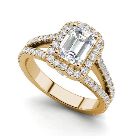 pave halo  carat   emerald cut diamond engagement ring