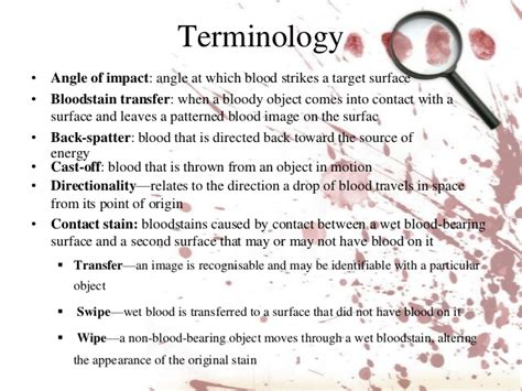 bloodstain pattern analysis terminology blood spatter analysis