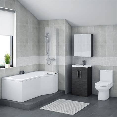Bathroom Tiling Ideas Uk brooklyn hacienda black bathroom suite with b shaped bath