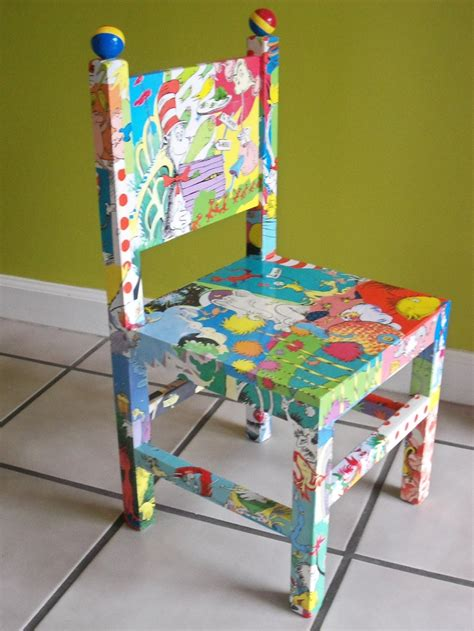 Decoupage Chair - dr seuss decoupaged wood child s chair cat in the hat