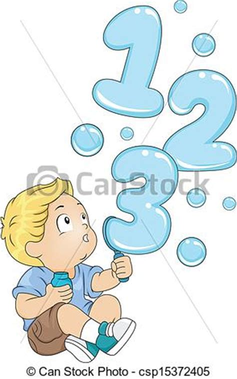 Vector Clipart Of Toddler With 123 Bubbles Illustration