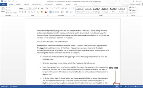 reading layout word 2013 turn off turn on read mode in word 2013
