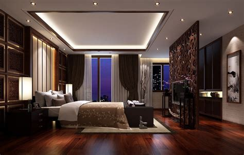 Luxurious Master Bedroom Interior Featuring Modern Ceiling