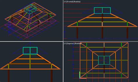 roof structure  dwg design elevation  autocad