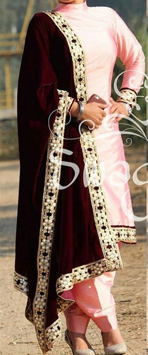 boutique suitbaby pink silk suit  velvet dupatta