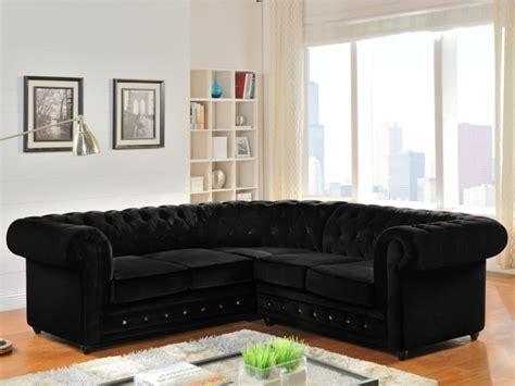canapé velours noir canap 233 d angle en velours chesterfield noir