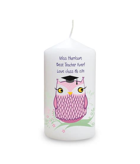 personalised candle miss owl just for gifts