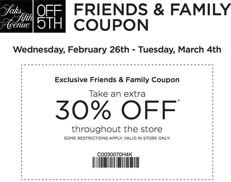 Saks Fifth Avenues One Day Of Savings by Saks Fifth Avenue 30 Printable Coupon