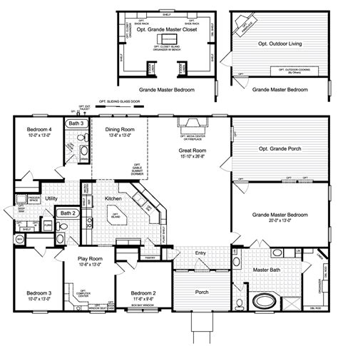 Home Plan View The Hacienda Ii Floor Plan For A 2580 Sq Ft Palm Harbor Manufactured Home In Buda