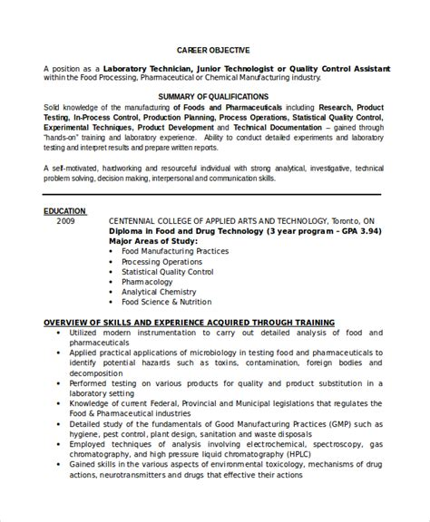 Specimen Of Professional Resume by Lab Technician Resume Template 7 Free Word Pdf