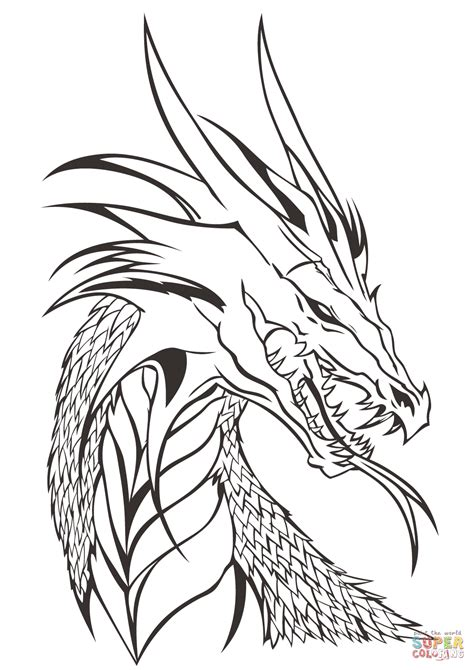 Coloring Pages Of Dragon Heads | dragon head coloring page free printable coloring pages