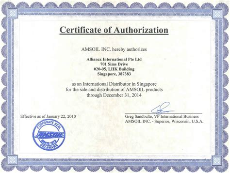 official certificate template amsoil singapore amsoil official distributor notice