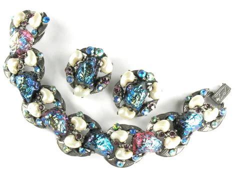 Florenza Set florenza lava glass rhinestone bracelet and earrings
