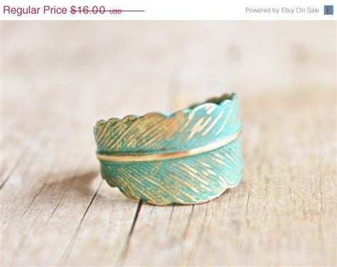 verdigris feather ring forged brass feather ring
