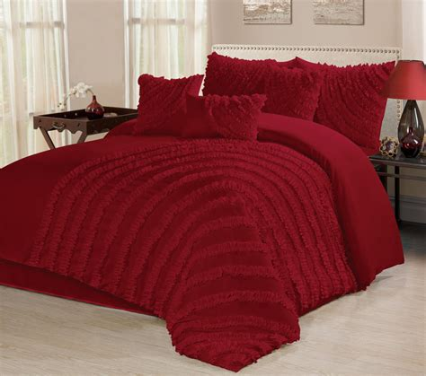 Ruffle Set 7 homechoice 7 bed in a bag ruffle pleated comforter burgundy ebay