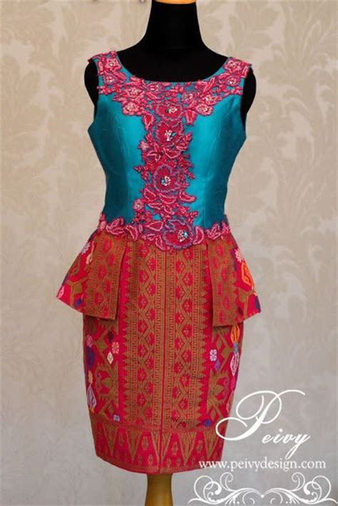 Design Dress Songket | songket combination with pink and blue by peivy design