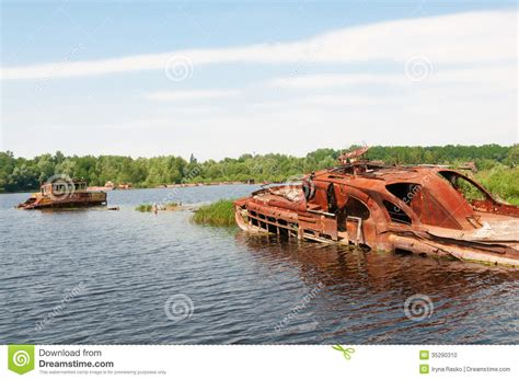 boat crash brunei wrecked abandoned ship on a river stock photo image