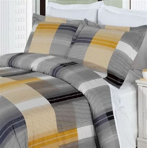 grey and gold bedding gold grey plaid 100 percent egyptian cotton reversible