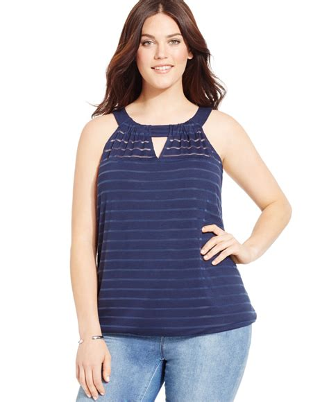 Halter Top inc international concepts plus size damask stripe halter top in blue lyst