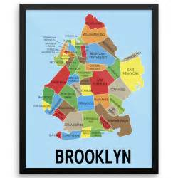 Brooklyn New York Map by Neighborhood Map Of Brooklyn New York Wall Art Print The