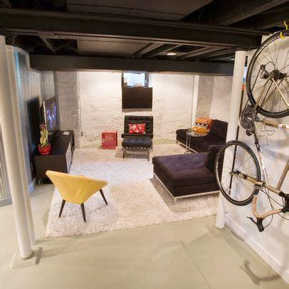 Inexpensive Unfinished Basement Ideas Painted Out Ceiling And Inexpensive Approach To Quot Finished Basement Quot Space Duncan Avenue