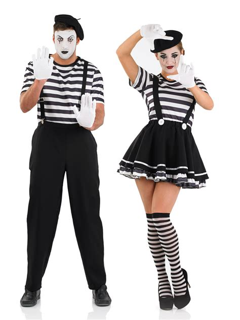carnival themed costumes mens ladies mime artist costume black white street circus