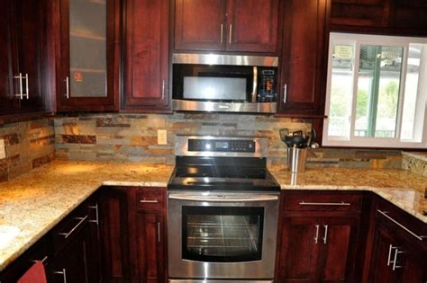 backsplash ideas for cherry cabinets home pinterest