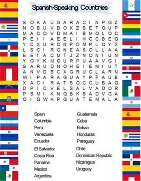 printable word search countries of the world spanish speaking countries word search pa 237 ses