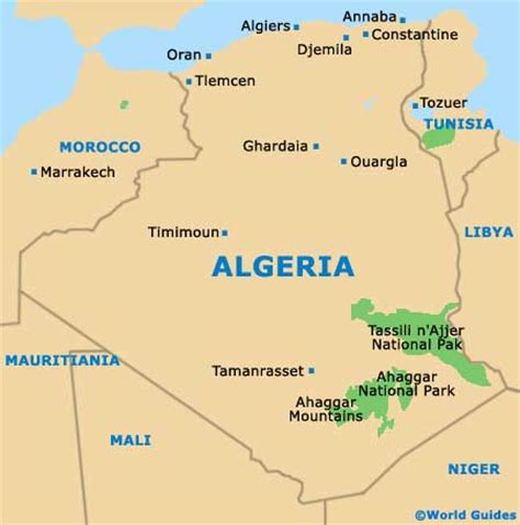 algeria map with cities algerien bergen karte