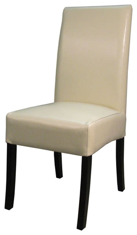 Beige Leather Dining Chairs Valencia Bonded Leather Chair Beige Set Of 2 Transitional Dining Chairs By New Pacific
