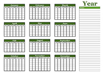 free yearly blank calendar template – printable blank