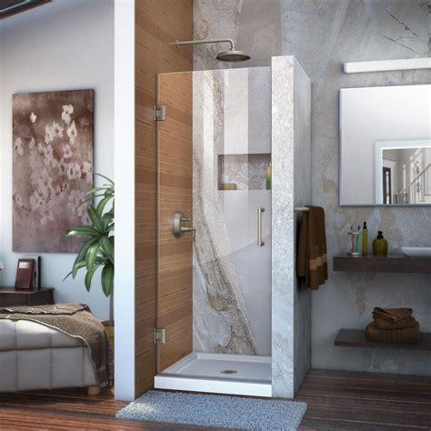 pivot frameless shower door dreamline unidoor 30 in x 72 in frameless hinged pivot
