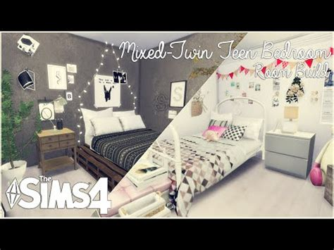 the sims 4: room build | mixed twin teen bedroom youtube