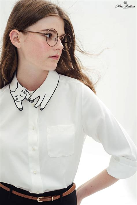 Tshirt Collar Cat cat shirt white miss patina vintage inspired fashion