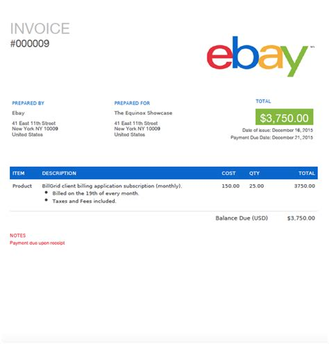 ebay on collection receipt template ebay invoice template hardhost info