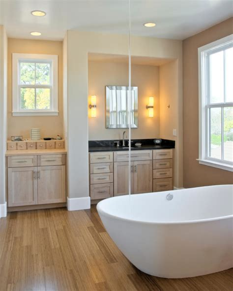 Bright Colored Bathrooms by 26 Master Bathrooms With Wood Floors Pictures
