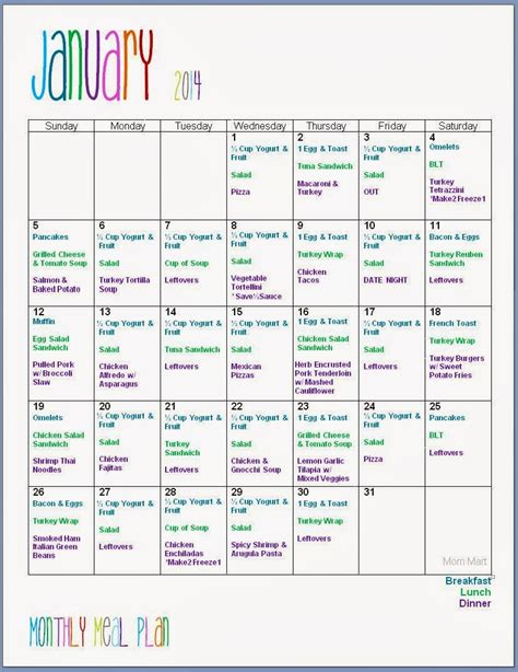 monthly meal planning template mart january monthly meal planning w grocery
