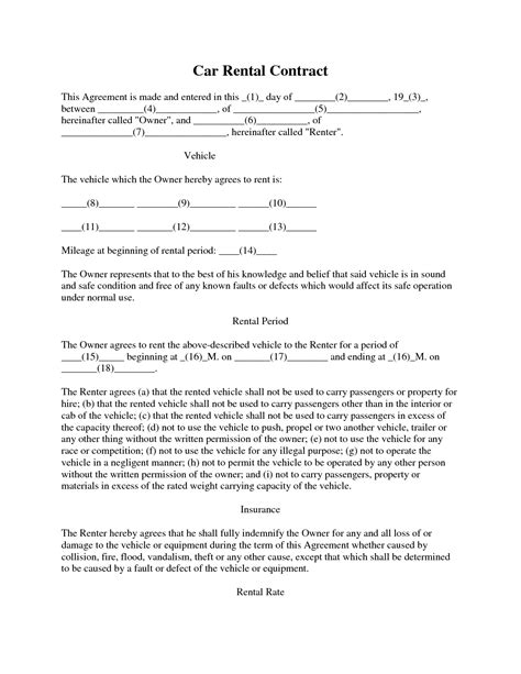 rental car agreement template best photos of car rental agreement template car lease