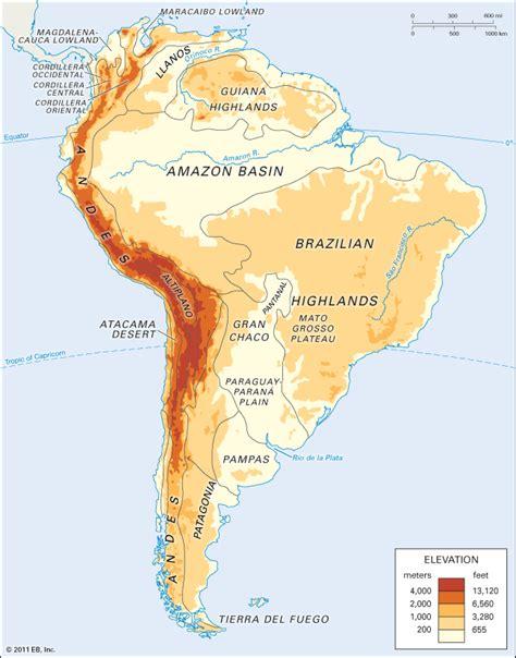 america landforms map map of south america landforms