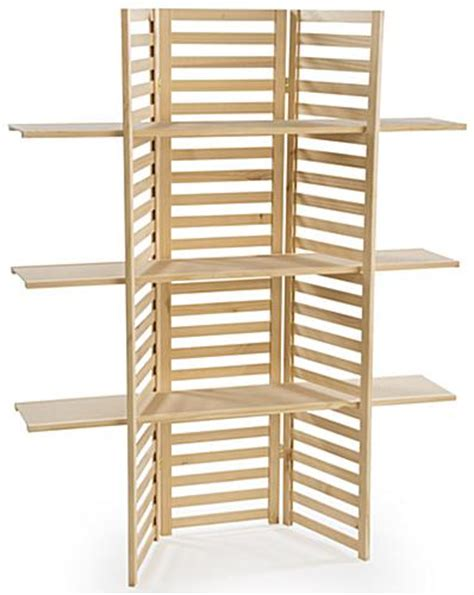 wooden display rack 3 tier folding panels in pine