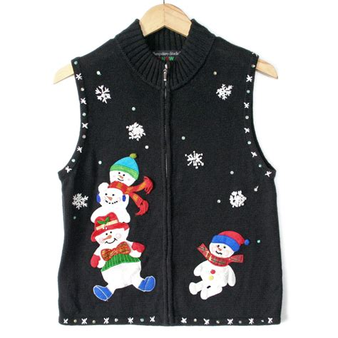 leg l christmas sweater stack of snowmen with legs ugly christmas sweater vest