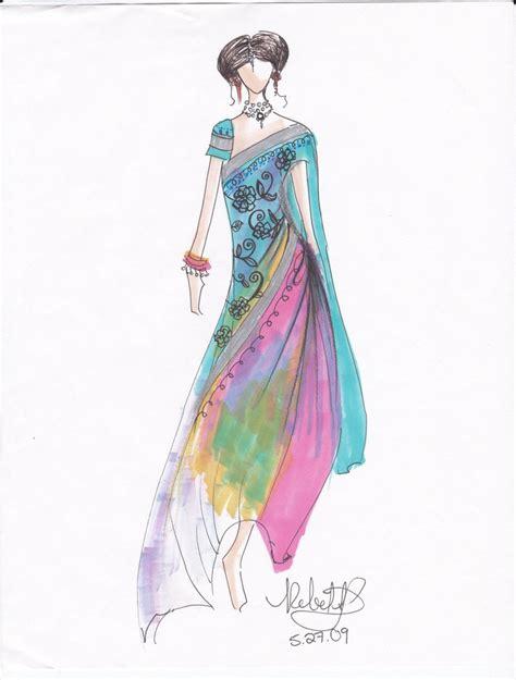 fashion illustration in india costume design sketches indian sari costume design print by rebekkalien costume designs