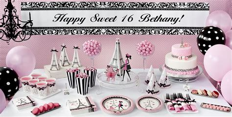 paris themed party kit pink paris sweet 16 party supplies party city