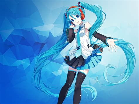 wallpaper hatsune miku anime girl polygons blue