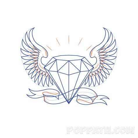 diamond with wings tattoo designs drawing www pixshark images