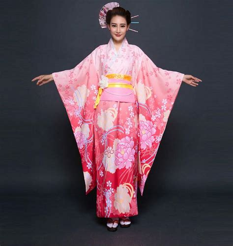 Dress Obi 2in1 Flower top quality pink japanese evening dress vintage kimono gown yukata with obi