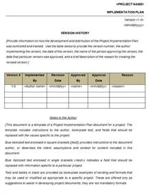 Implementation Plan Template by Project Implementation Plan Template Free Word Excel
