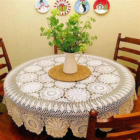 Handmade Table Cloths - yazi tablecloth handmade crochet cotton white tabletop