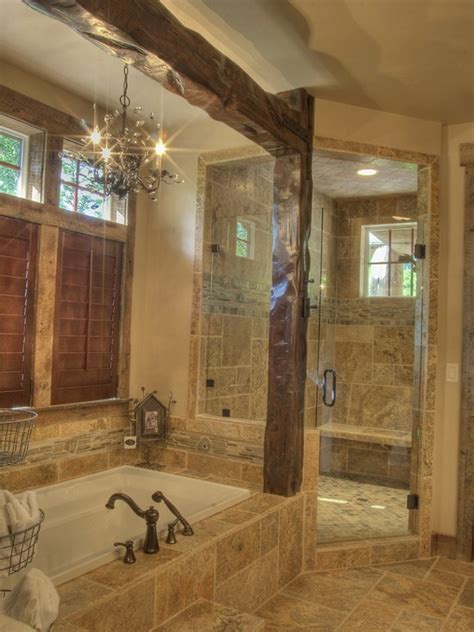 spaces rustic shower design pictures remodel decor and ideas master bathroom home design