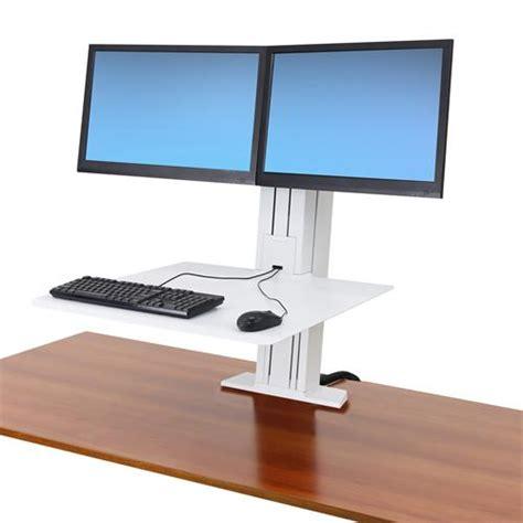 sit stand desk dual monitor ergotron workfit sr dual monitor sit stand desktop